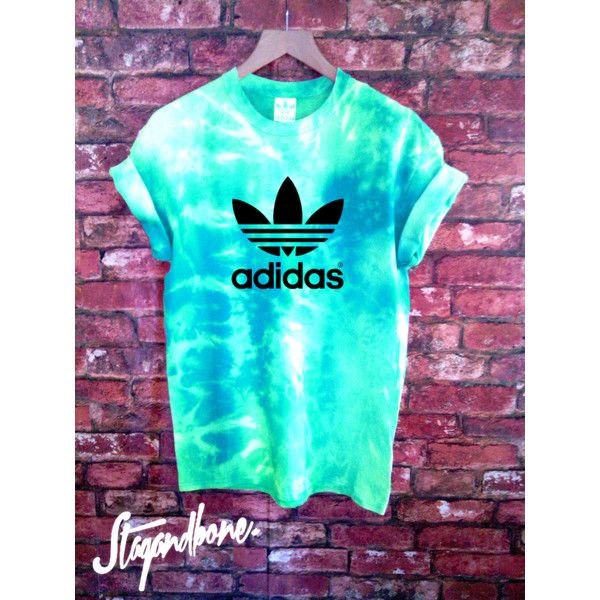 Unisex Authentic Adidas Originals Tie Dye T-Shirt (£31) ❤ liked on Polyvore featuring tops, t-shirts, blue, women's clothing, tie dyed t shirts, tie dye t shirts, short sleeve t shirts, short sleeve tops and tye die t shirts