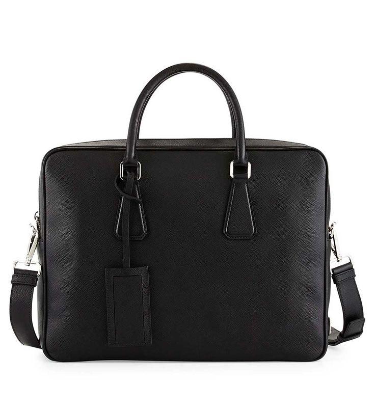 Prada Saffiano Zip-Around Briefcase Black              $245.00