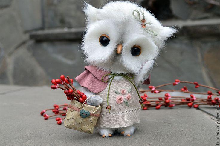 Милая полярная сова из меха /  Snowy Owl   #art #ручнаяработа #handmade #inspiration #teddy #owl #toy
