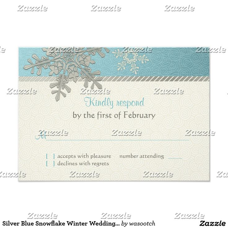 Silver Blue Snowflake Winter Wedding Reply Card