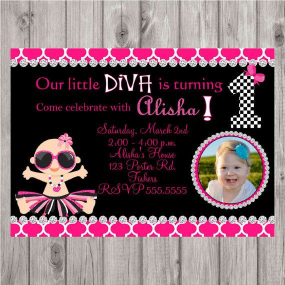 ON SALE Digital Little Diva First Birthday Personalized Photo Invitation by spencervillejunction on Etsy, $10.00