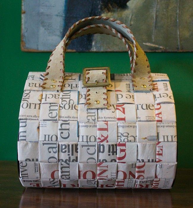 borsa bauletto intrecciata (tipo carta)