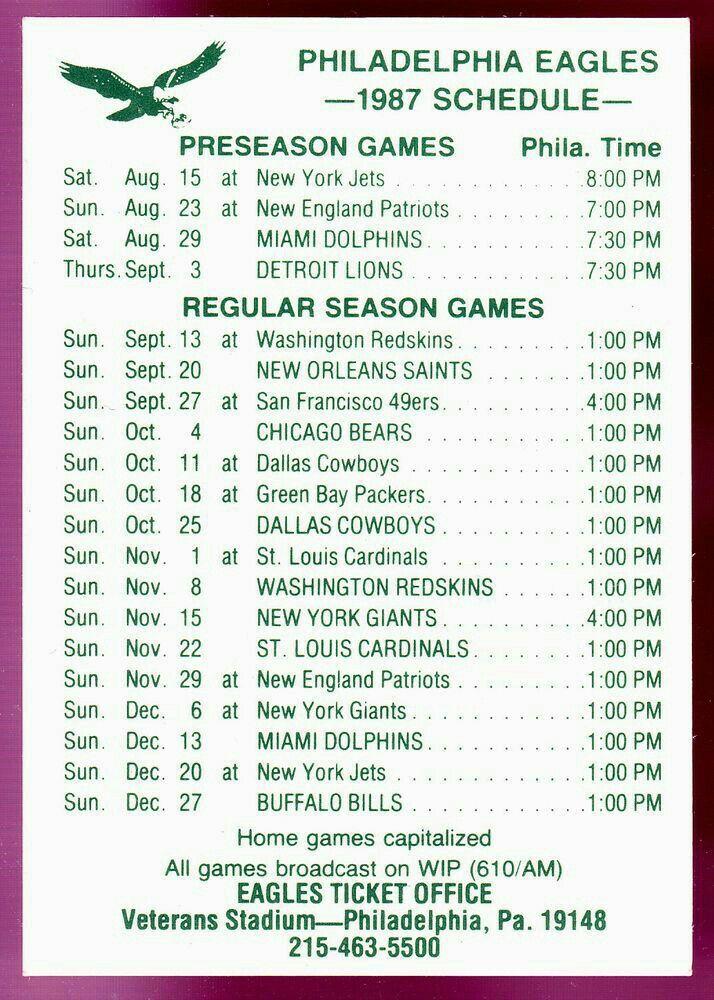 1987 Philadelphia Eagles Schedule 🏈