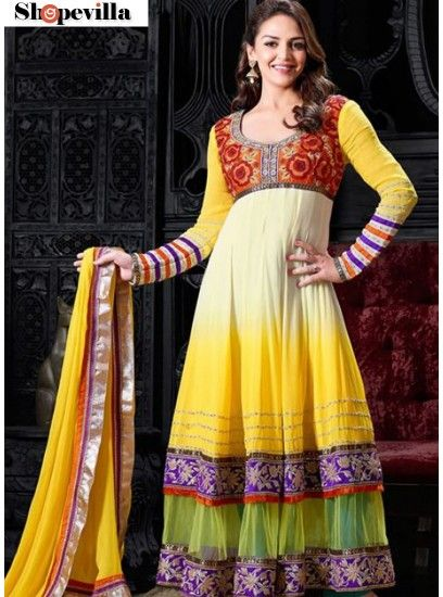 Esha Deol Stylish Yellow Colour Party Wear Embroidered Anarkali Suit-6012