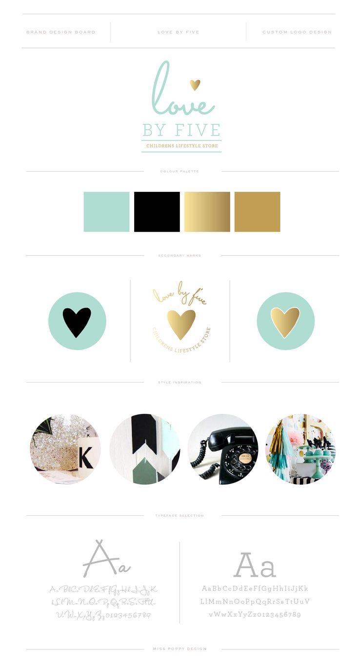 LOVE BY FIVE / Logo and Branding by Miss Poppy Design / Modern / Clean / Aqua Black and Gold / Brand Board / www.misspoppydesign.com