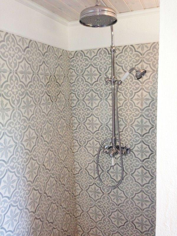Dusch marockanskt kakel Marrakech frostgrå