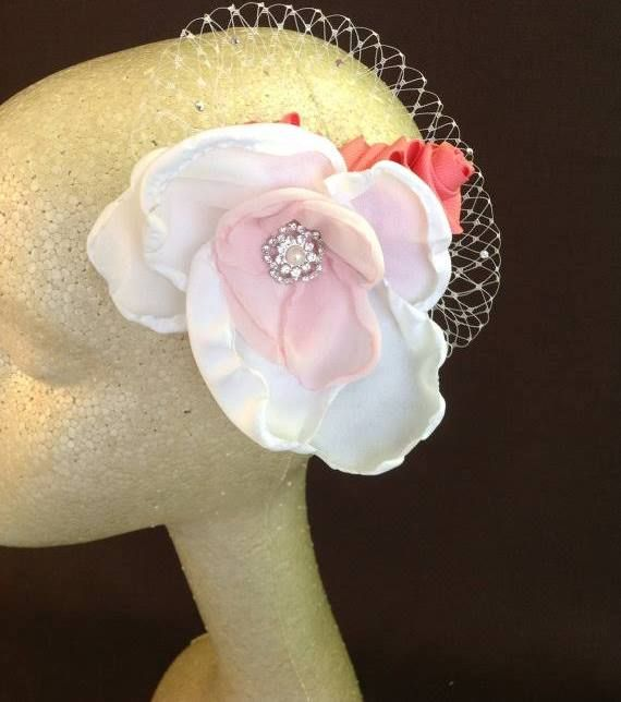 pink and white fascinator