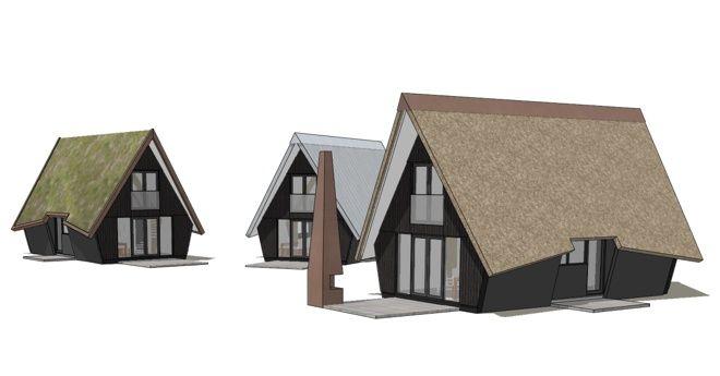 prefab starterswoningen met vegetatiedak, metalen dak of rieten dak; Dingemans Architectuur