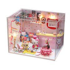 Hágalo usted mismo cabina casas de muñecas con Hello Kitty Rosa Casa de Ensueño regalos de cumpleaños para niños