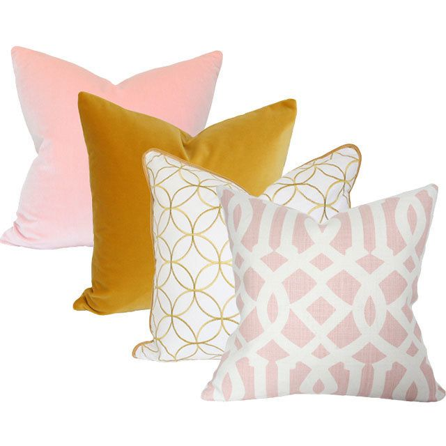 Match Pillows Tips Blush Pink Golden Mustard Yellow White And Pink Pattern Modern Classic Design Yellow Bedroom Decor Yellow Girls Room Pink Girl Room