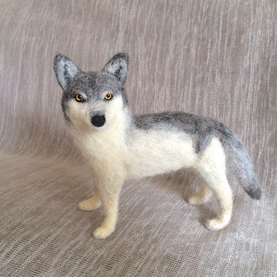 needle felted wolf by CatsX on Etsy