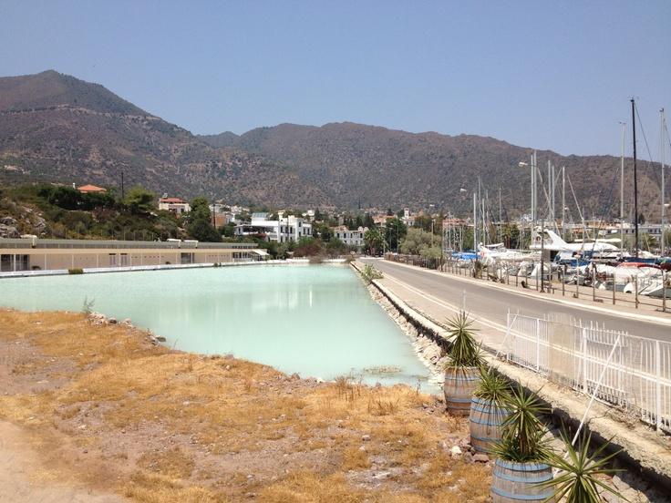 methana, road over hot springs