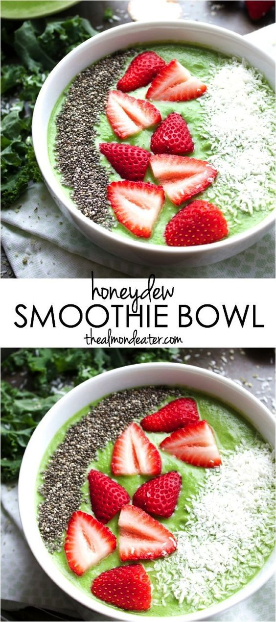 Honeydew Smoothie Bowl   Honeydew and coconut combine to create this creamy, healthy smoothie bowl   thealmondeater.com