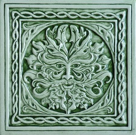 Greenman. Decorative handmade ceramic tile