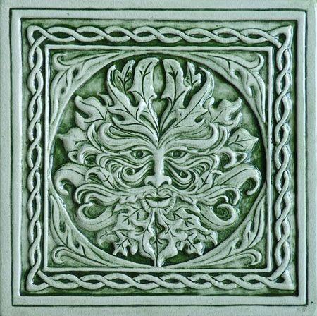 Greenman. Decorative handmade ceramic tile