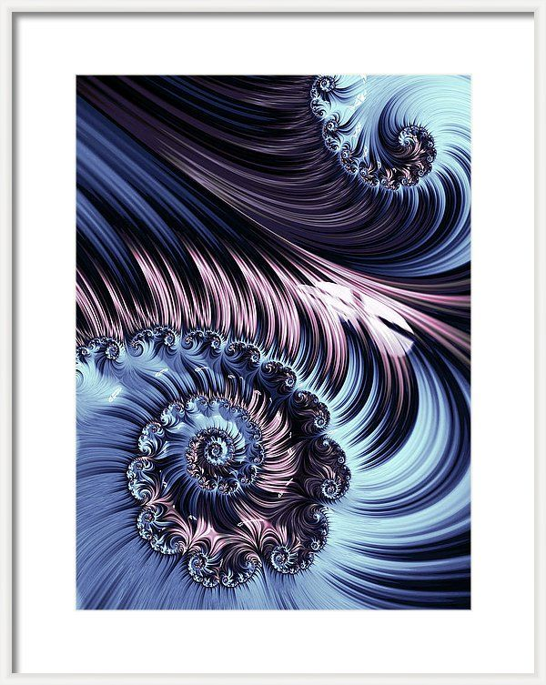 Abstract Framed Print featuring the digital art Purple Spiral Abstracts by Oksana Ariskina. Pale and blue spiral abstract fractal pattern background. White spiral abstract flower. Decorative concept. Available as poster, greeting card, phone case, throw pillow, framed fine art print, metal, acrylic or canvas print with my fine art photography online: www.oksana-ariskina.pixels.com  #OksanaAriskina #Artworks #FineArtPhotography #HomeDecor #FineArtPrints #FineArtAbstract  #AbstractBackgrunds…