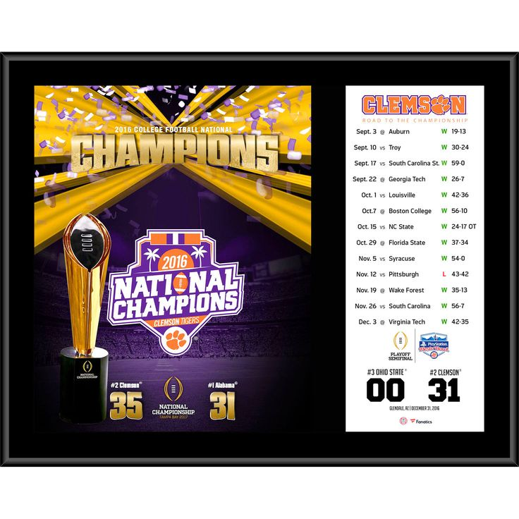 "Clemson Tigers Fanatics Authentic College Football Playoff 2016 National Champions 12"" x 15"" Sublimated Plaque - $39.99"