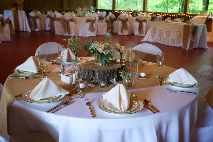 Inside this Bluff Mountain Inn barn wedding. Burlap heaven! Click here for more from http://bluffmountaininn.com
