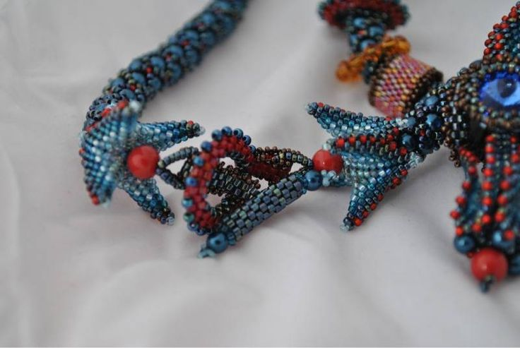 Lantern Lighter Necklace - finished. Instructions for the 4-footed ends are in either Bead & Button magazine or Beadwork magazine (can't remember which).