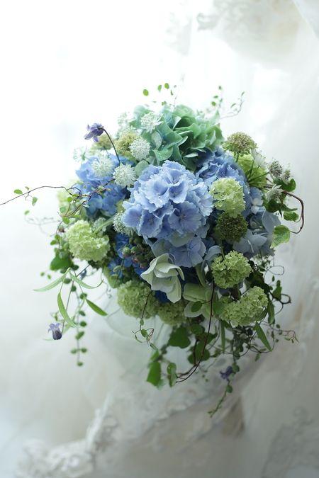 初夏のブーケ アジサイの青の一会風 レストランヒロミチ様へ 一会 ウエディングの花