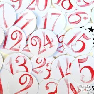 shabbyflair Zahlenaufkleber 1 - 24 zum selbst Gestalten eines Adventskalenders