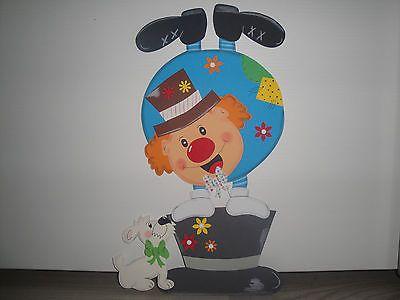 Tonkarton Fensterbild ~ Clown mit Hund ~ Karneval Fasching XXL 37,5 x 24 cm