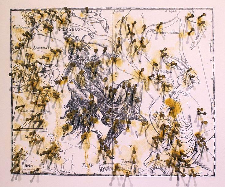 Perseus.  Artista: Sergio Zapata, Perseus, Grafito, clavos y óxido sobre papel, 73 x 59cm (28.5 x 23 inch), 2014, + PA  Artist: Sergio Zapata, Perseus , graphite, nails and rust on paper , 73 x 59cm ( 28.5 x 23 inch ) , 2014 , + PA  #art #arte #contemporaryartwork #pintura #paint #bac #dibujo #drawing