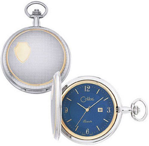 Colibri Pocket Watch Two Tone Blue Dial with Date PWS095851 Check https://www.carrywatches.com