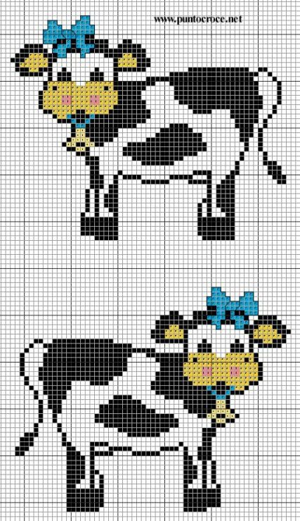 vache - cow - point de croix - cross stitch - Blog…