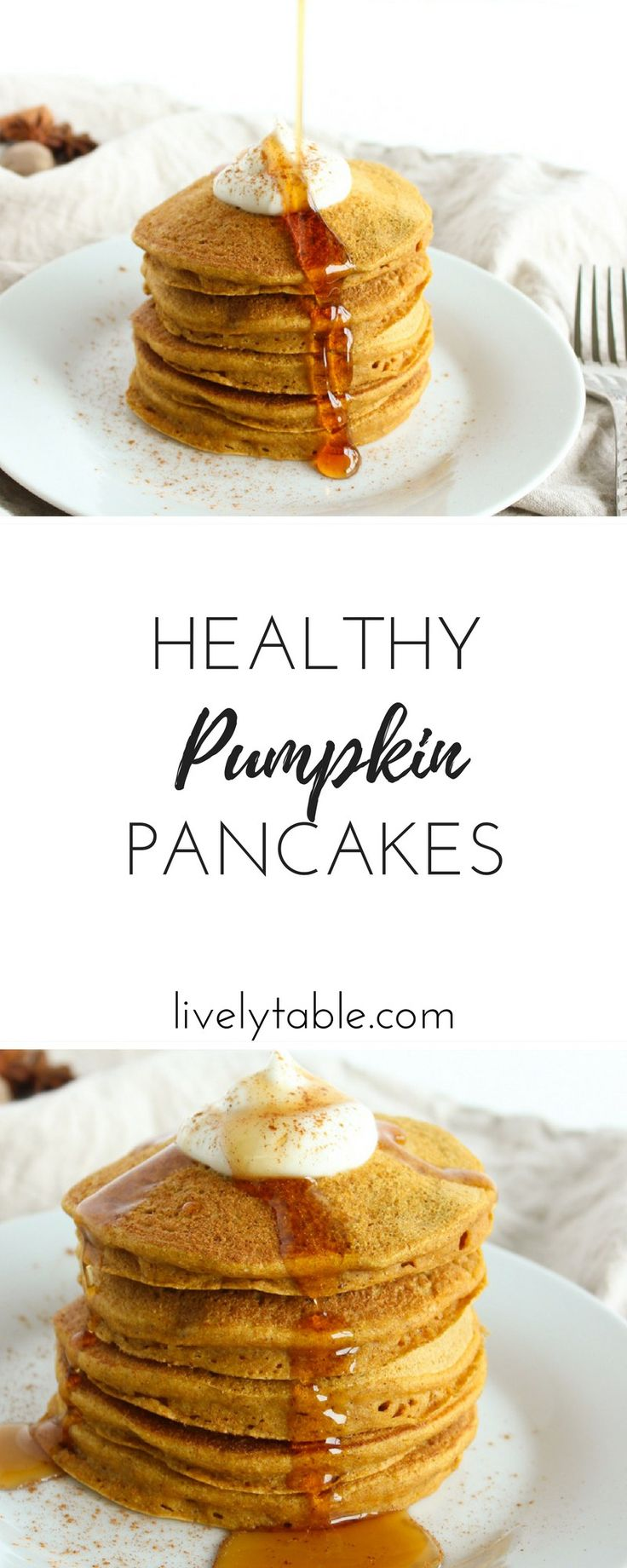 Healthy pumpkin pancakes are the perfect cozy fall breakfast or brunch! Made with whole grains, no added sugar and a gluten-free option! Via livelytable.com