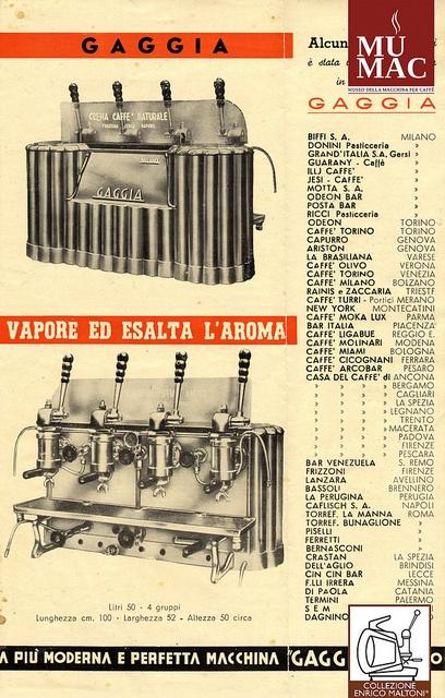 Classica - Gaggia, Milano, 1948. Prima macchina ad utilizzare il sistema a leva per spingere l'acqua calda in pressione sul caffè macinato (brevetto Gaggia): il risultato è la crema caffè espresso. Esemplare appartenente alla prima serie, costruito in collaborazione con le Officine Faema prima che Gaggia iniziasse a produrre in proprio.
