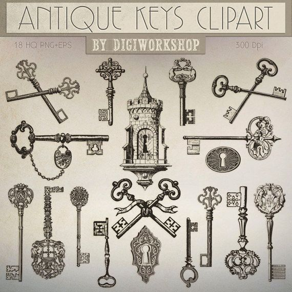 18 Antique Keys - Digital Antique Keys Clipart  This amazing antique or vintage clip art set contains 18 different  #keyhole and keys in old style, very suitable for cards, ... #etsy #digiworkshop #scrapbooking #illustration #creative #clipart #printables #cardmaking