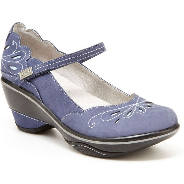 Jambu Bombay (Women's) ($129) ❤ liked on Polyvore featuring shoes, blue, mary jane shoes, blue mid heel shoes, mary-jane shoes, velcro strap shoes and jambu shoes