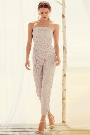 Buy Blush Lace Bandeau Jumpsuit online today at Next: Norway