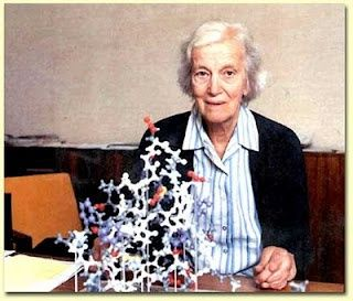 Dorothy Crowfoot Hodgkin (1910-1994) was a founder of protein crystallography.    Hodgkin and her mentor, J.D. Bernal, were the first to successfully apply X-ray diffraction to biological crystals. She identified the structures of cholesterol, lactoglobulin, ferritin, tobacco mosaic virus, penicillin, and vitamin B-12. She also described the structure of insulin in 1969, a problem on which she worked for 34 years.