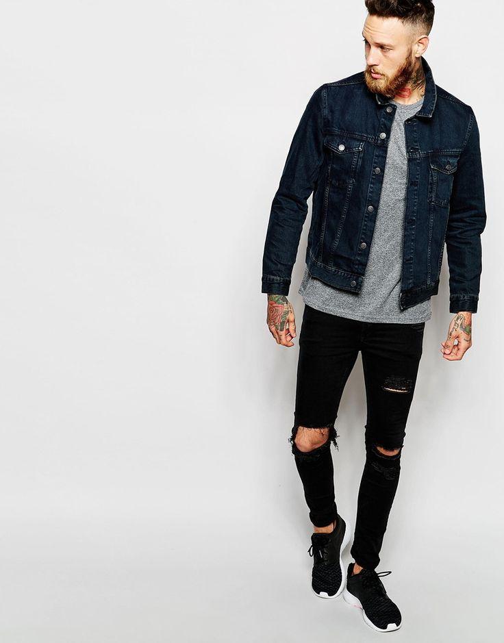 Image 4 ofWeekday Denim Jacket Singel Slim Fit Western Washed Black