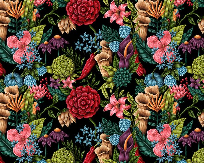 Romanian artist Saddo uses a naturalistic influence to depict colorfully strange worlds, complete with bizarre beings and too-tall flowers.