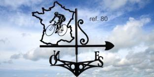 Girouette de toit : cycliste sur route