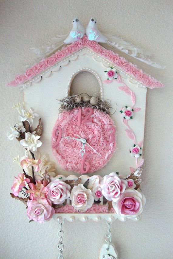 cuckoo clock shabby chic for sale at my etsy shop my. Black Bedroom Furniture Sets. Home Design Ideas