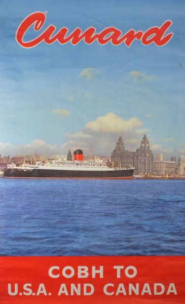 1960 Cunard Line Cobh to USA and Canada poster