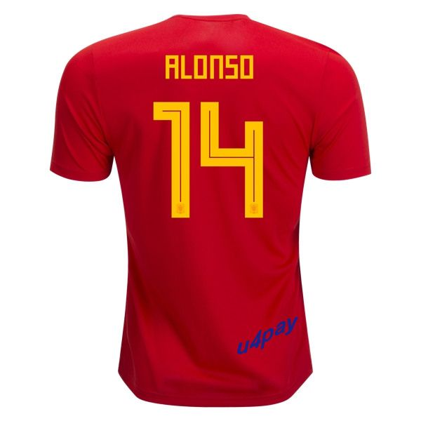 Xabi Alonso 14 2018 FIFA World Cup Spain Home Soccer Jersey