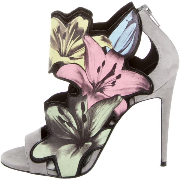 Pierre Hardy Pierre Hardy Floral Painted Peep-Toe Pumps w/ Tags ($495) ❤ liked on Polyvore featuring shoes, pumps, heels, scarpe, grey, multi-color pumps, stiletto heel pumps, gray peep toe pumps, stiletto pumps and floral pumps