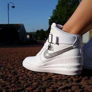 Shoes: nike, swag, girl, fashion, pretty, style, nike air revolution sky hi, swarovski, skyhi, sky hi, nike wedges, wedges, wedge sneakers, nike running shoes, nike air - Wheretoget