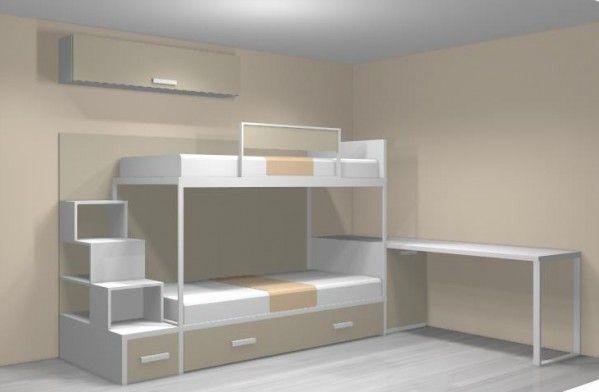 Meubles Ros - Lit superposé personnalisée avec étàgere, un bureau et un armoire - Chambres personnalisées - Chambres