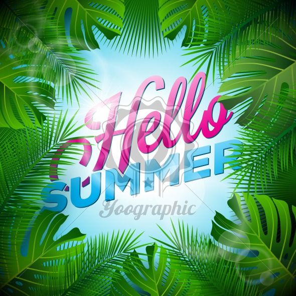 Vector Hello Summer Holiday typographic illustration with tropical plants and sunlight on light blue background. - Royalty Free Vector Illustration