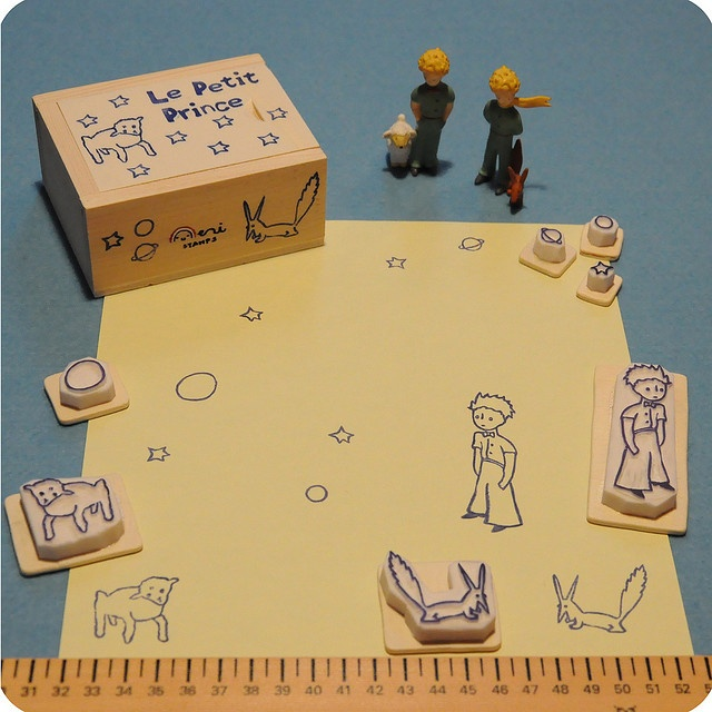 Le Petit Prince handcarved rubber stamp set