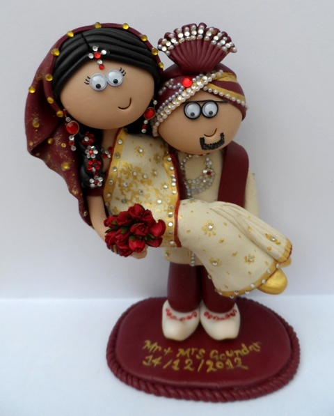 A recent Asian Wedding cake topper couple, this one took me a long time! www.googlygifts.co.uk I ship world wide.