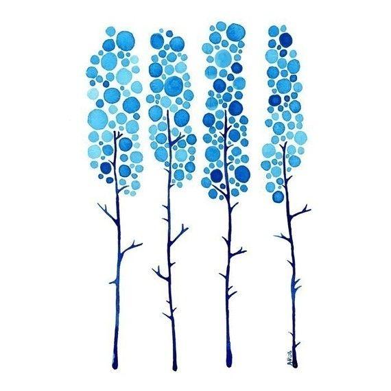 True Blue Watercolour Landscape Art Print Winter Tree Artwork Home Wall Poster on Etsy, $17.89 AUD