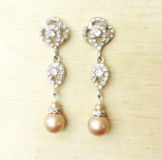 Swarovski Crystal CHAMPAGNE Pearl Bridal Earrings, Vintage Style Rhinestone Pearl Wedding Dangle Earrings, Old Hollywood Jewelry, LARA