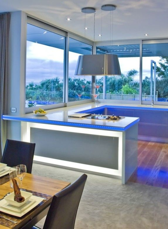 Kitchen Wooden Floor Ideas And Beautiful Blue Lighting Ideas Marble Countertop Design Also Gray And Blue U Shaped Kitchen Style Clever Ways About Kitchen Remodel Ideas You Must See